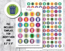 Planner Stickers, Digital Download, Printable, Trash Can, Plum Planner, Erin Condren