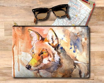 Pouch bag, travel her gift for her, travel gift, mom gift, pencil case, gift for her, cosmetic bag, make up case, ipad case, coyote