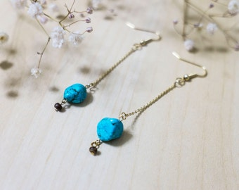 Gemstone Jewelry: Turquoise gems and Gold Earrings + FREE shipping