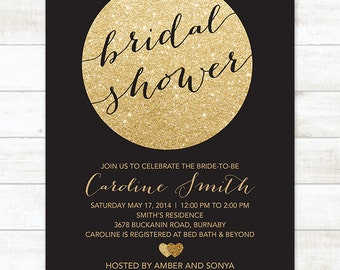 gold black bridal shower invitation, black gold glitter printable modern bridal shower digital invite, customizable