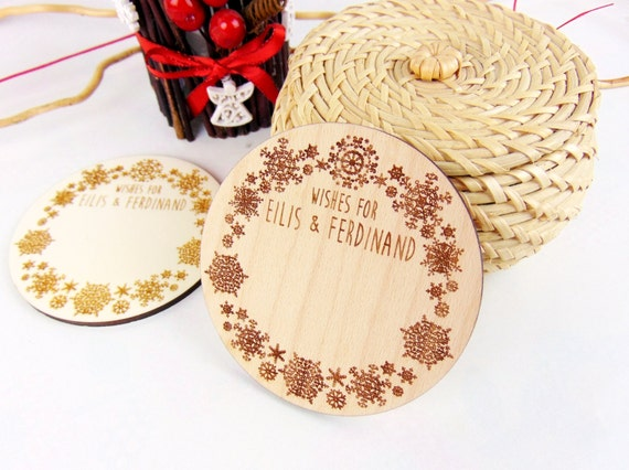 Custom Snowflake Wood Wedding Coaster, Engraved Coaster, Winter Guest Book, Advice Card, Wedding Guest Book, Wedding Favors, Christmas