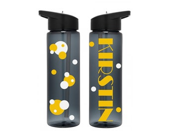 Personalized polka dot water bottle. Custom plastic tumble. Gym water bottle. Hydration bottle. Work out water bottle with name & polka dots