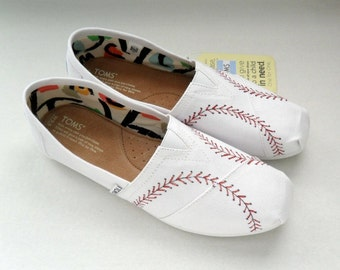 Baseball Wedding TOMS Authentic TOMS Shoes Gift for the Bride Groom Gift Hand Painted TOMS Bride's Baseball Shoes Customized Bridal TOmS