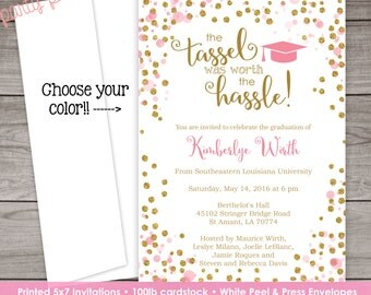 Graduation Invitations - Pink and Gold Graduation invitation - Senior Invitation - Class of 2017 - Graduation-106