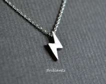 Tiny Lightning necklace in silver, Thunder necklace, The flash, Bridesmaid jewelry, Everyday necklace, Wedding necklace