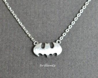 Batman necklace in silver, Everyday necklace
