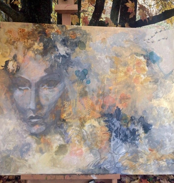 Autumn Tapestry, Original Mixed Media Acrylic Ink Painting Large Rectangle 30 by 36 Inches Painting Decor Face  Lovers Geese Ethereal