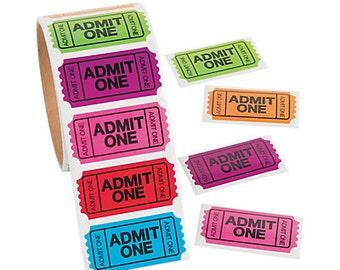 100 / Admit One Ticket Stickers