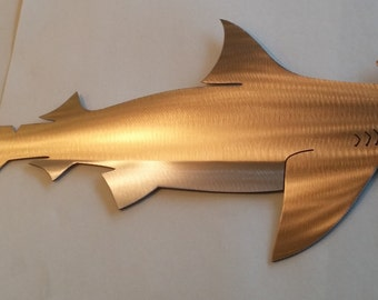 One of a kind Hand-Made,Free Hand-Cut,Heat-Treated/Torched Colored Hammer Head Shark