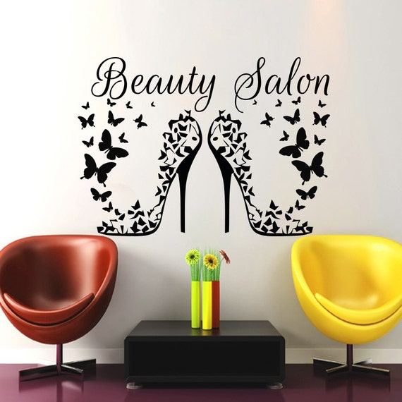 Hair salon wall art beauty decal barbershop by cozydecal - Stickers salon design ...