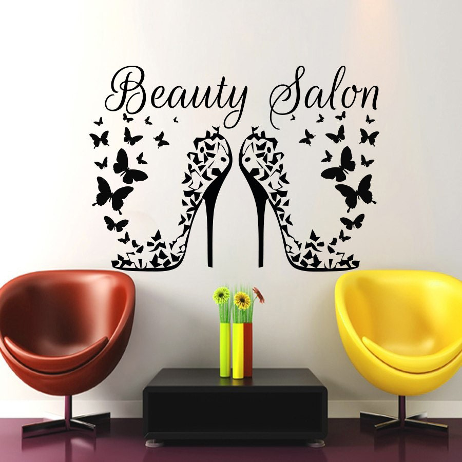 Hair salon wall art beauty decal barbershop by cozydecal for Spa wall decor