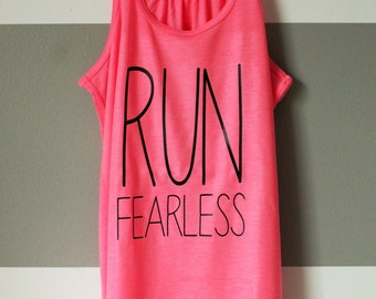 Run Fearless Workout Tank - Neon Pink - Black Print