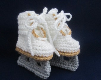 Baby Handmade Crocheted Ice Skate Booties/ Figure Skate Booties/Christmas Gift/Baby Shower Gift/Stocking Stuffer