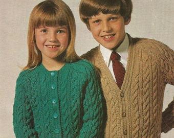 Instant Download - PDF- Lovely Vintage DK Cable Cardigan Knitting Pattern (C36)