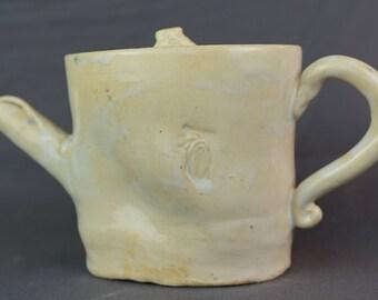 Medium, white, handmade, ceramic teapot with paisley stamp design