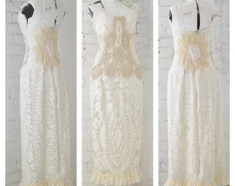 Shabby Country Chic Quaker Lace dress, Victorian Chic Slip Dress, Country Bride