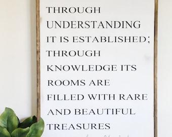 Proverbs 24:3-4  | Rustic Decor | Hand Painted Wood Sign | Farmhouse decor | Fixer Upper | Home Decor | Farm Collection | housewarming