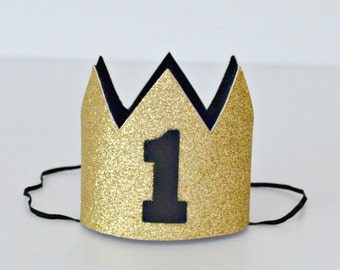 Baby Boy 1st Birthday Mini Crown | Gold Glitter & Black | Birthday Party or Cake Smash or Photo Prop | Made to Order