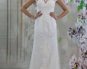 Elegant Scoop Neck Aline Lace Applique Wedding dress