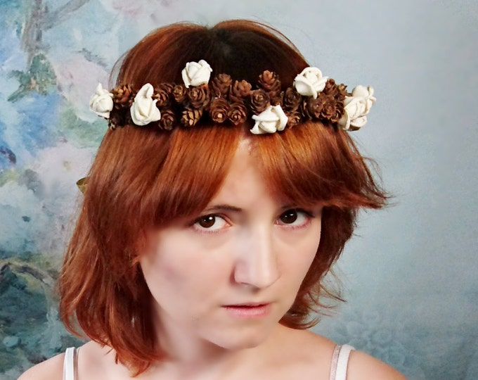 Pine cone CROWN / WREATH  ivory sola flowers gold ribbon Flower girl Bride fall autumn woodland