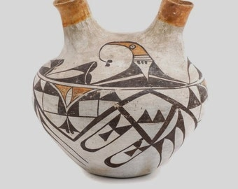Native American Rare Acoma Double Spouted Poly Chrome Pottery Jar, #917