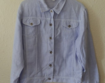 Vintage Pure Linen Very Pale Blue-Lilac Denim Style Jacket with Silver Tone Metal Buttons Size S/M