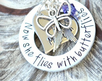 Personalized Memorial Necklace With Wings Of Courage - In loving Memory - Butterfly Charm - Butterflies - Angel Wing Necklace - Heel Lilies