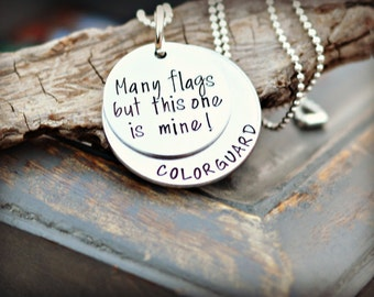 hand stamped color guard necklace - many flags but this one is mine