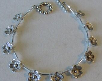 Daisy Crystal Bracelet,  Daisy Bracelet,  Silver Daisy Bracelet,