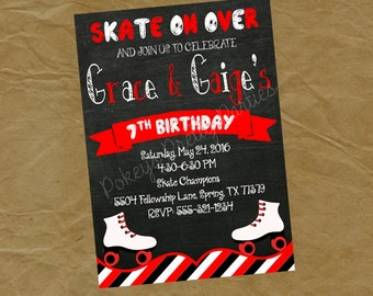 TWINS SIBLINGS Skating Birthday Party Invitation- Digital or Printed Brother Sister Cousins Boy Girl Red Black