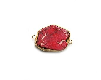 Pink Variscite Connector - Gold plated Bezel - 1pc