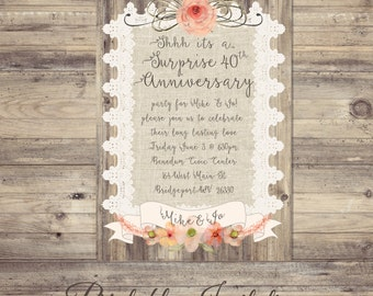 Surprise Anniversary Invitations, Burlap and lace anniversary invitations, rustic wedding anniversary invitation, lace anniversary invites