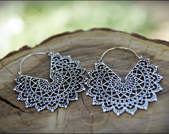 Silver earrings. Mandala Flower earrings. Tribal jewelry. Gypsy.