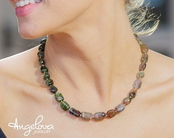 Tourmaline Necklace/ Green/ Pink/ Watermelon/ Tourmaline/ Gemstone/ One of a kind/ Necklace/ Nature/ Art/ Jewelry