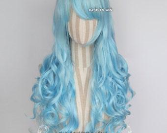 L-1 light blue 75cm long curly wig . Hiperlon fiber . KA046