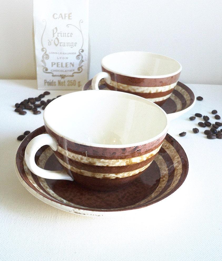 2 tasses petit d jeuner avec soucoupe sarreguemines digoin. Black Bedroom Furniture Sets. Home Design Ideas