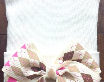 Cream Bow Newborn Hospital Hat - Newborn Bow Hat - Neutral Color Bow Hat - Baby Girl Hat - Newborn Baby Girl Hat - Diamond Bow Hospital Hat