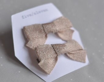 Soft pink hair clips. Hand made bow barrettes with Japanese ribbon