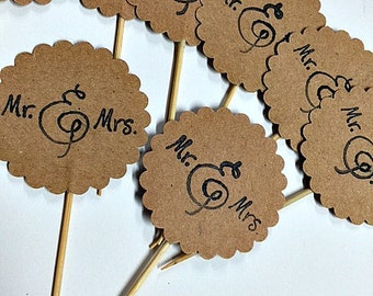 Rustic Mr. & Mrs. Cupcake Toppers !!! - Set of 12 -  Engagement Party, Wedding, Bridal Shower, County, Vintage, Cupcake Toppers, Party!!!!!!