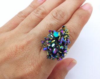 Quartz Ring, Aura Quartz Ring, Crystal Ring, Rainbow Quartz Ring, Healing Crystals