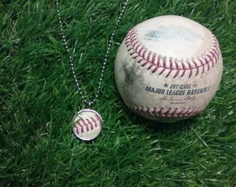 Game Used Baseball Necklace- Round 3/4 inch, Metal Back