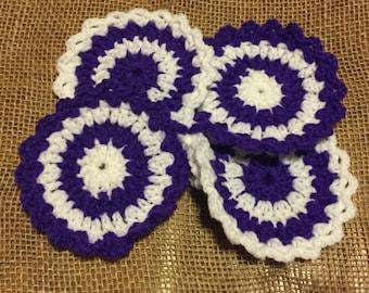Purple and White Crochet Coasters - Handmade Housewares - Set of 4