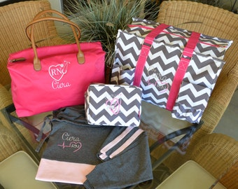 Totes Set, Utility Tote, Travel Bag Set, Pink Tote & Jersey Set, Monogram yours today!, 2 Day Shipping!!!