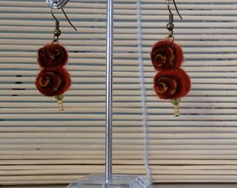 Autumn earrings - felted jewellery - drop earrings - sushi roll - jelly roll (43)