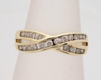 0.50 Carat T.W. Ladies Round Cut Diamond Band 10K Yellow Gold Ring