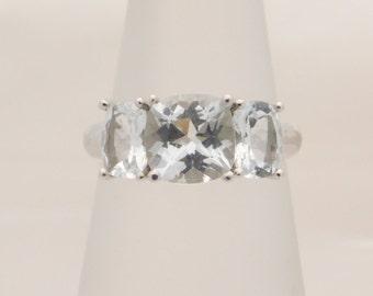 Ladies Cushion Cut Aquarmarine Three Stone Ring 10K
