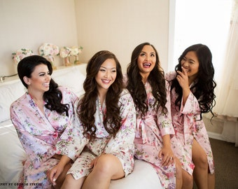 Floral Bridesmaid Robes, Floral Bridal Robe, Floral Bridesmaid Robes, Bridal Party Robes, Set of 5, Set of 6, Set of 7, Set of 8