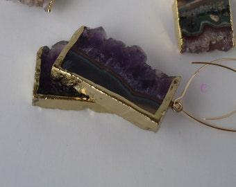 Gold Edged Amethyst Earrings