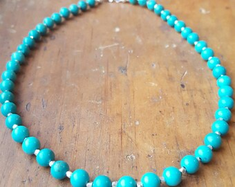 Turquoise and Karen Hill Tribe Beaded Necklace, Chinese Turquoise, Turquoise Jewelry, Southwest Jewelry, Native American Navajo Inspired