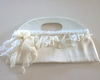 White leather and silk wedding clutch – Leather wedding clutch, leather and silk wedding clutch, wedding clutch, bridal clutch, Dutch Design